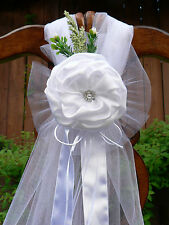 Wedding decorations, White Chair Bows, Pew Bows, Satin, Church Aisle Decor.