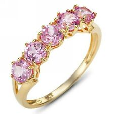 Band Jewellry Size 7 Anniversary Womens Popular Pink Topaz 18K Gold Filled Ring