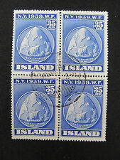 1939 block of 4 used Iceland stamps #214,Leif Ericsson's ship & route CV$38.00