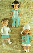 Dolls clothes knitting pattern for  14 inch doll.  Laminated copy. (V Doll 54)