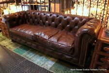 "69"" W x 26"" D tufted small Sofa Top grain vintage brown leather beautiful"