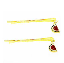 Pair of Sweet Gold Red Watermelon Baby Girl Slide Hair Clip Pins for Girls HA288