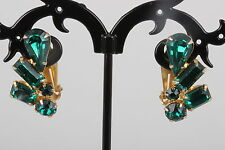 VINTAGE EMERALD GREEN RHINESTONES CLIP ON EARRINGS FASHION 8740