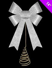 14 Inch Christmas Tree Top Decoration - SILVER Glitter Bow Tree Topper (DP144)