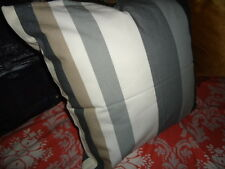 IKEA KAJSA RAND GRAY CHARCOAL KHAKI WIDE STRIPE ZIPPERED PILLOW COVER SHAM 19""