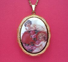 Porcelain ANGELS Cupid Roses & Heart CAMEO GT Locket Necklace for Valentine Gift