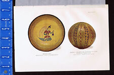 1907 CHROMOLITHOGRAPH: Persian Drinking Cup/Bowl & Ornament c1400s