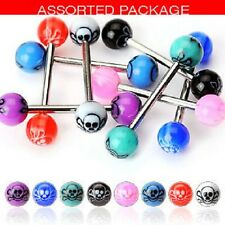New Lot 8 x Skull Tongue Bars Goth Piercing Tounge E8