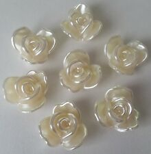10 Ivory Flower Cabochons - 20mm Lg Flatbacked Acrylic / ABS Imitation Pearl