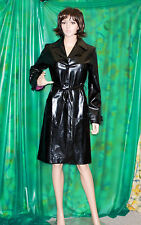 Lady's black dollhouse wet look shiny squekey vinyl pvc trendy commode imperméable