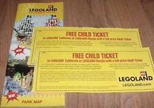 Two (2) Legoland KID KIDS CHILD Go Free California or Florida Good 2/28/2017