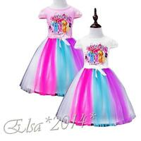Latest Kids Girl Rainbow Dash Cartoon My Little Pony Tutu Dress Fancy Dress 3-8Y