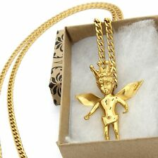 "Mens Gold Plated Stainless Steel Royalty Angel Pendant Hip-Hop 30"" Cuban Chain"