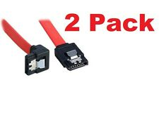 2 Pack Bipra SATA III cable Red (40cm) Locking Latch Straight to Right Angle