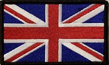 United Kingdom  Flag Patch With VELCRO® Brand Fastener Emblem BLACK Border