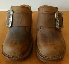 Harley Davidson Distressed Brown Leather Chunky Heel Clog NEW Size 5