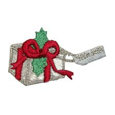 ID 8241 Christmas Present Holly Gift Box Embroidered Iron On Applique Patch