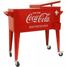Coca Cola Rolling Cooler Vintage Style 80 Qt Capacity Coke Ice Chest Patio Pool