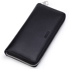 HISCOW Men's Metal Zipper Long Wallet Genuine Leather with 2 Cash Compartment