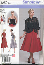 SIMPLICITY SEWING PATTERN 1250 MISSES SZ 14-22 1950s RETRO FLARED DRESS & JACKET