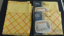 Vtg JC Penney No Iron Percal double bed fitted flat sheets & pillow cases yellow