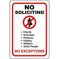 """No Soliciting No Exceptions 8"""" x 12"""" Aluminum Sign"""