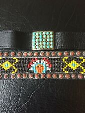 2 Vintage Native American Beaded and Turquoise Bracelets, 1970's, Awesome