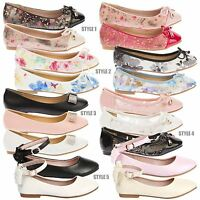 New Girls Childrens Kids Flats Low Heels Slip On Casual Ballet Dolly Shoes Size