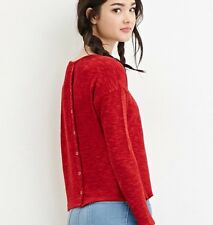 NWT New Forever 21 Button-Back Knit Top Red Large L