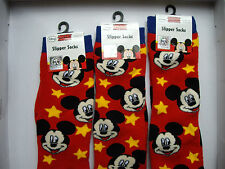 MICKEY MOUSE Winter Slipper Socks, Disney, Red & Yellow Stars UK 12-2 /EUR 31-34