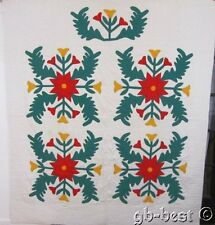 Vibrant! Feathers & Tulips Vintage Applique Album QUILT Red Green Cheddar 88x78""