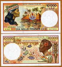French Pacific Territories 10000 (10,000) Francs ND (1985) P-4, Ch. UNC
