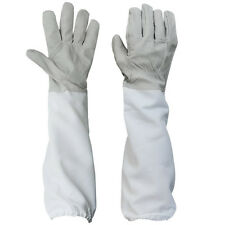 1 Pair Beekeeping Protective Gloves with Vented Long Sleeves-- Grey and White ZH