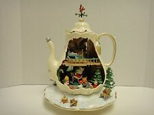 Enesco Holiday Bungalow Musical Christmas Teapot Music Box Illuminated Animated