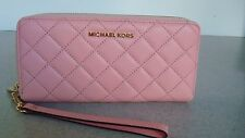 NWT-Michael Kors Jet Set Pink Quilted Leather Lettered Zip Wallet/Wristlet Sale