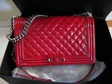 Authentic Chanel Le Boy Flap Bag Red Patent  W/Silver HW + Receipt