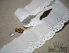 "14Yds Broderie Anglaise cotton eyelet lace trim 1.8"" white YH1434 laceking2013"