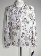 Cape Cod Sportswear  - 14 (L) - NWT - Vintage 80s Beige Foral Ruffle Blouse -Top
