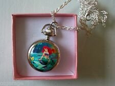 1 NEW ARIEL PRINCESS  NECKLACE ,LOCKET 1 INCH  WATCH ,SPARE CHAIN (GIFT BOX )