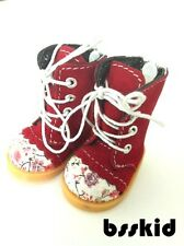 "BJD Yo-SD 1/6 Dollfie 13"" Effner 12"" Kish Doll Shoes RED Floral Boot"