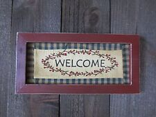 Primitive WELCOME Cloth Sign Wood Frame Stitched Country Rustic Grungy Farmhouse