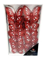 Tray of 12 Red 8cm Clip-On Jewelled & Glitter Butterflies