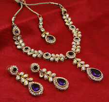 Indian Bollywood Designer 3PC Necklace Earrings Set Goldtone Bridal Jewelry Sets