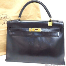 Authentic HERMES Kelly 32 Black Box Calf HandBag France w/dust bag cadena lock