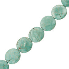 "Natural Turquoise Semi-Precious Coin Beads Faceted Gems 20mm 15"" Strand (J14/2)"