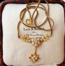 Antico Vittoriano 18ct Gold Pearl & Collana Di Diamanti/a fascia -