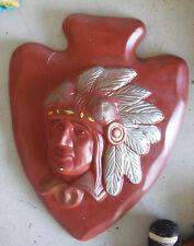 """Vintage Holland Mold Ceramic Indian Chief Head Bust Wall Hanging 11"""" Tall #2"""