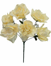6 OPEN ROSES ~ CHAMPAGNE ~ Soft Touch Silk Wedding Flowers Bouquets Bridal Decor