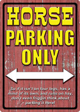 """WESTERN RUSTIC RANCH HOME BARN DECOR """"HORSE PARKING ONLY"""" METAL SIGN"""