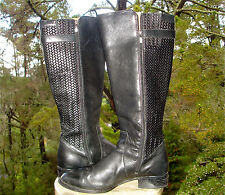 ARIAT Black PLYMOUTH Leather Boot Woven Knee High Riding Fashion Womens 11